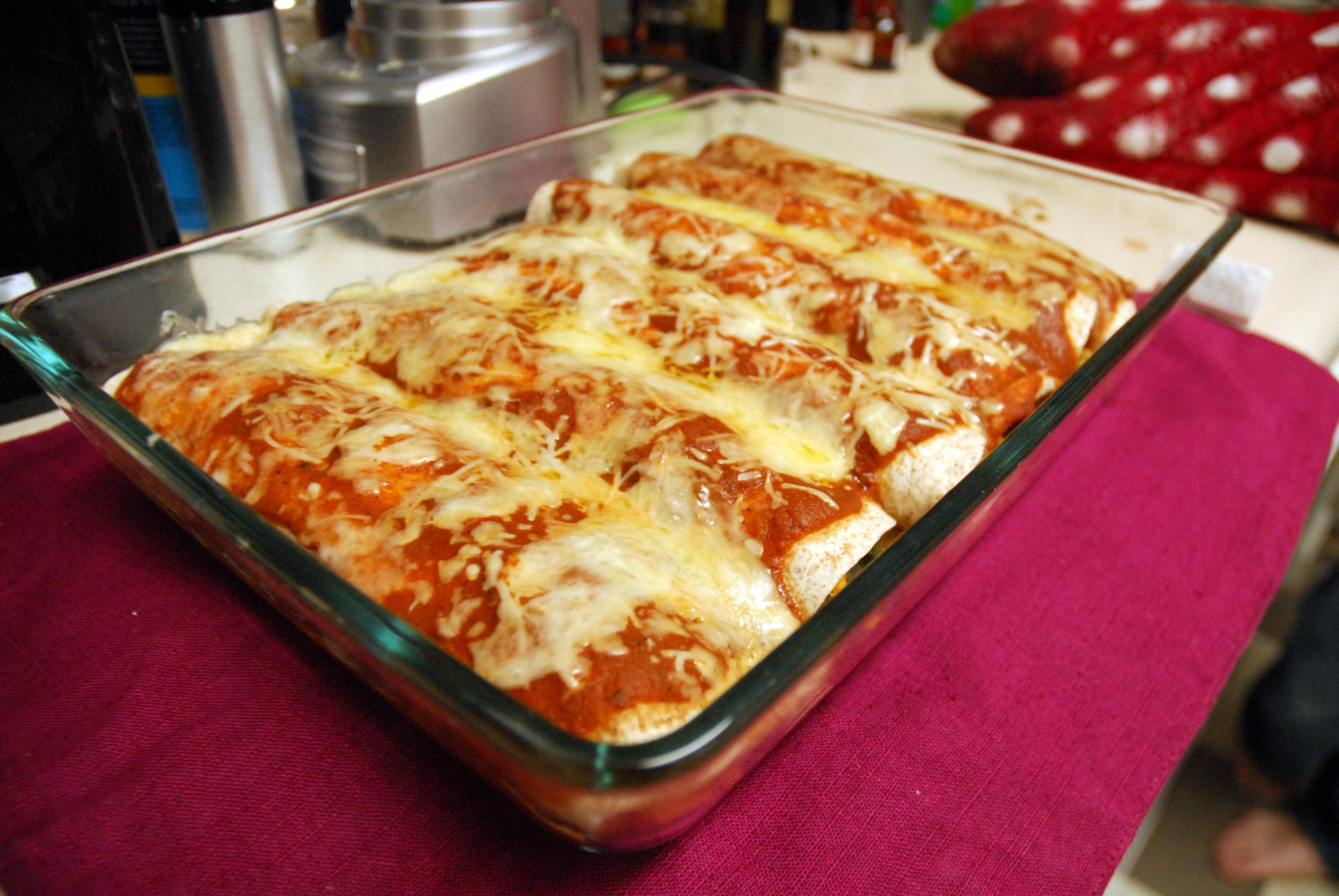 ... tasty sweet potato enchiladas. With homemade enchilada sauce
